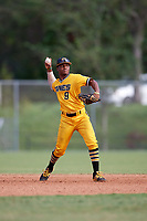 Xavier Edwards (9) while playing for Canes National based out of Fredericksburg, Virginia during the WWBA World Championship at the Roger Dean Complex on October 21, 2017 in Jupiter, Florida.  Xavier Edwards is shortstop / second baseman from Wellington, Florida who attends North Broward Prep High School.  (Mike Janes/Four Seam Images)