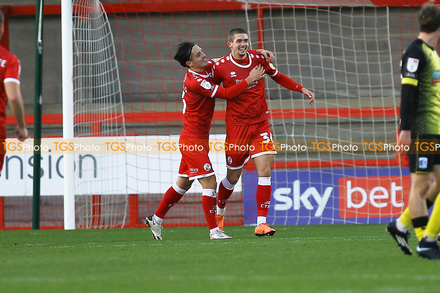 Max Watters (R) of Crawley Town scores the first goal for his team and celebrates during Crawley Town vs Barrow, Sky Bet EFL League 2 Football at Broadfield Stadium on 12th December 2020