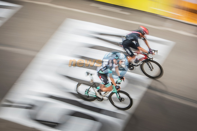 Geraint Thomas (WAL) Ineos Grenadiers and Esteban Chaves Rubio (COL) Team BikeExchange cross the finish line of Stage 3 of the 2021 Tour de France, running 182.9km from Lorient to Pontivy, France. 28th June 2021.  <br /> Picture: A.S.O./Charly Lopez | Cyclefile<br /> <br /> All photos usage must carry mandatory copyright credit (© Cyclefile | A.S.O./Charly Lopez)
