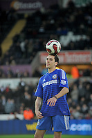 SWANSEA, WALES - JANUARY 17:   of  during the Barclays Premier League match between Swansea City and Chelsea at Liberty Stadium on January 17, 2015 in Swansea, Wales. <br /> Skills footballers showing off their tricks at half time.