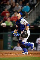 Buffalo Bisons catcher Mike Ohlman (14) tracks a popup during a game against the Syracuse Chiefs on June 30, 2017 at Coca-Cola Field in Buffalo, New York.  Syracuse defeated Buffalo 8-1.  (Mike Janes/Four Seam Images)
