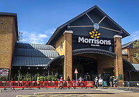 Morrisons Superstore in High Wycombe town centre during Easter bank holiday Monday during the Covid-19 Pandemic as the UK Government advice to maintain social distancing and minimise time outside in High Wycombe on 13 April 2020. Photo by PRiME Media Images.