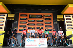 Bahrain Victorious best team after yesterdays stage at sign on before Stage 9 of the 2021 Tour de France, running 150.8km from Cluses to Tignes, France. 4th July 2021.  <br /> Picture: A.S.O./Pauline Ballet   Cyclefile<br /> <br /> All photos usage must carry mandatory copyright credit (© Cyclefile   A.S.O./Pauline Ballet)