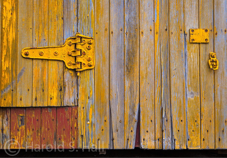 Colorful designs of an old train car in Lamy, New Mexico.