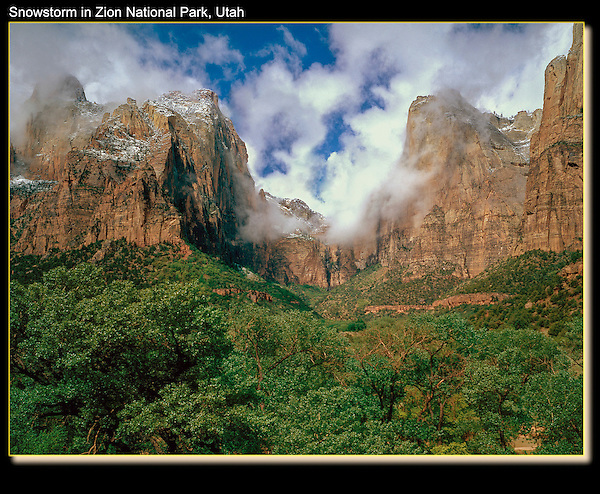 Court of the Patriarchs in a spring snowstorm, Zion National Park, Utah.<br />
