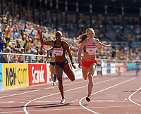 4th July 2021; Stockholm Olympic Stadium, Stockholm, Sweden; Diamond League Grand Prix Athletics, Bauhaus Gala; Femke Bol runs another personal best and national record in the 400m hurdles as she takes the line ahead of Shamier Little