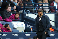 Swansea City manager Carlos Carvalhal looks dejected during the Premier League match between Manchester City and Swansea City at the Etihad Stadium, Manchester, England, UK. Sunday 22 April 2018
