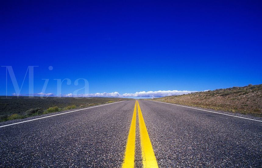 USA, Utah, road leading to horizon in the desert with bright yellow markings