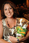 """Chrissie DeCesare with Calvin at the """"Dog Days of Summer"""" Yappy Hour benefitting Citizens for Animal Protection and Golden Beginnings Golden Retriever Rescue at Hotel Derek Wednesday July 21,2010.(Dave Rossman/For the Chronicle)"""