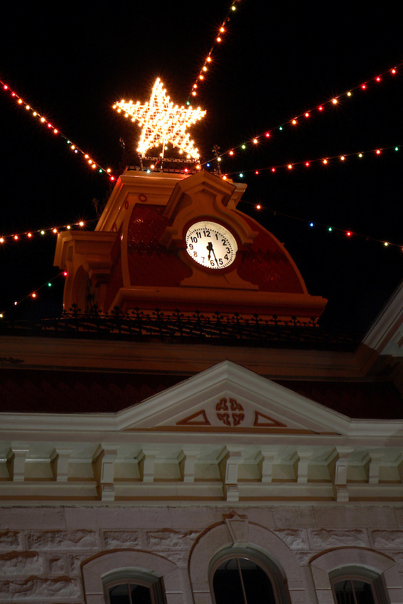 Old Courthouse Clock on the square at Lampasas, Texas.