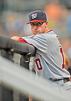 24 July 2012: Washington Nationals outfielder Corey Brown stands in the dugout prior to a game against the New York Mets at Citi Field in Flushing, NY. The Nationals defeated the Mets 5-2 to take the second game of their 3-game series. Mandatory Credit: Ed Wolfstein Photo