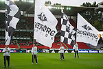Rosenborg v St Johnstone....18.07.13  UEFA Europa League Qualifier.<br /> Rosenborg flag bearers<br /> Picture by Graeme Hart.<br /> Copyright Perthshire Picture Agency<br /> Tel: 01738 623350  Mobile: 07990 594431