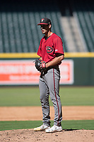 Arizona Diamondbacks relief pitcher Brian Shaffer (43) prepares to deliver a pitch during an Instructional League game against the Kansas City Royals at Chase Field on October 14, 2017 in Phoenix, Arizona. (Zachary Lucy/Four Seam Images)