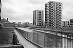 The De Beauvoir Estate, Regents Canal.  Haggerston, east London 1978. Taken from in front of Kenning House on Kenning Terrace, just off Whitmore Road