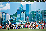 Jason Scrivener of Australia walks by a giant photo of Hong Kong during Hong Kong Open golf tournament at the Fanling golf course on 25 October 2015 in Hong Kong, China. Photo by Aitor Alcade / Power Sport Images