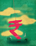 Illustration of a large rupee shaped pendulum swinging with people running away