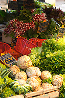 Vegetables and fruits for sale at a market stall at the street market in Bergerac, selleri root, salad, lettuce, radishes,... Bergerac Dordogne France