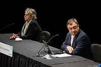 Conference de presse de Francois Legault et Valerie Plante, Mairesse de Montreal,  durant la crise du COVID 19, le 14 Mai 2020, A la Place des Arts.<br /> <br /> PHOTO : Emilie Nadeau, Cabinet du Premier Ministre