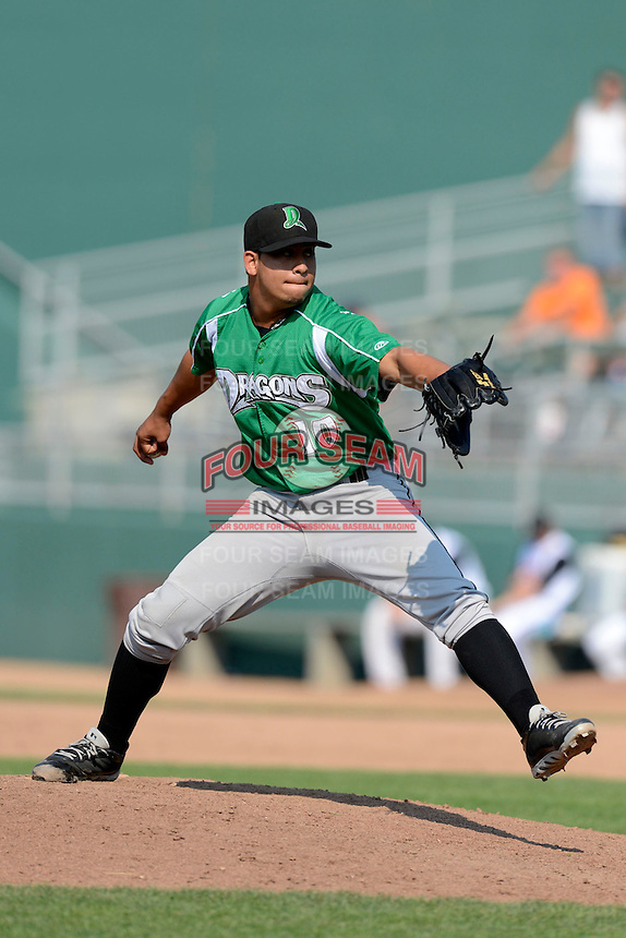 Dayton Dragons pitcher Alejandro Chacin (10) during a game against the Lansing Lugnuts on August 25, 2013 at Cooley Law School Stadium in Lansing, Michigan.  Dayton defeated Lansing 5-4 in 11 innings.  (Mike Janes/Four Seam Images)