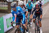 Alejandro Valverde (ESP/Movistar) accelerating up the final ascent of the Geulhemmerberg, followed by Richard Carapaz (ECU/INEOS Grenadiers)<br /> <br /> 55th Amstel Gold Race 2021 (1.UWT)<br /> 1 day race from Valkenburg to Berg en Terblijt; raced on closed circuit (NED/217km)<br /> <br /> ©kramon