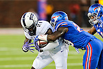 TCU Horned Frogs running back Kyle Hicks (21) in action during the game between the TCU Horned Frogs and the SMU Mustangs at the Gerald J. Ford Stadium in Dallas, Texas.