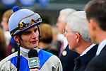 31 October 2009: Jockey Jamie Theriot answers questions for the press after winning the 51st running of the $150,000 Fayette Grade II stakes race.