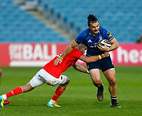 23th April 2021; RDS Arena, Dublin, Leinster, Ireland; Rainbow Cup Rugby, Leinster versus Munster; James Lowe of Leinster is tackled by Conor Murray of Munster