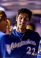 25 March 2019: Milwaukee Brewers outfielder Christian Yelich returns to the dugout after scoring in the first inning of an exhibition game against the Toronto Blue Jays at Olympic Stadium in Montreal, Quebec, Canada. The Brewers defeated the Blue Jays 10-5 in the first of two MLB pre-season games in the former home of the Montreal Expos. Mandatory Credit: Ed Wolfstein Photo *** RAW (NEF) Image File Available ***