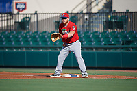 Fort Myers Miracle first baseman Taylor Grzelakowski (13) during a Florida State League game against the Lakeland Flying Tigers on August 3, 2019 at Publix Field at Joker Marchant Stadium in Lakeland, Florida.  Lakeland defeated Fort Myers 4-3.  (Mike Janes/Four Seam Images)