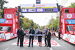 Cutting the ribbon for the start of Stage 3 of the CERATIZIT Challenge by La Vuelta 2020, running 98.6km around the streets of Madrid, Spain. 8th November 2020.<br /> Picture: Antonio Baixauli López/BaixauliStudio | Cyclefile<br /> <br /> All photos usage must carry mandatory copyright credit (© Cyclefile | Antonio Baixauli López/BaixauliStudio)