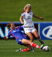 Olivia Klei (USA) and Lea Rubio (FRA) compete for the ball..FIFA U17 Women's World Cup, USA v France, Albany Stadium, Auckland, New Zealand, Wednesday 5 November 2008. Photo: Renee McKay/PHOTOSPORT