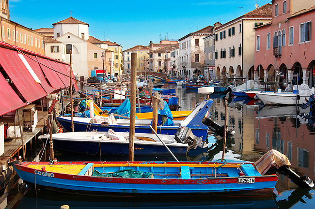 Fishing Boats outside the fish market on Riva Vena canal - Chioggia - Venice - Italy