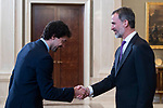 King Felipe VI of Spain receive in royal audience to Sergio Llull of Real Madrid Basketball Team, new champions of Turkish Airlines Euroleague 2017-2018 at Zarzuela Palace in Madrid, Spain. May 23, 2018. (ALTERPHOTOS/Borja B.Hojas)