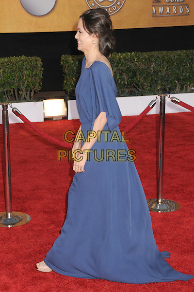 ANGELINA JOLIE .15th Annual Screen Actors Guild Awards held at the Shrine Auditorium,  Los Angeles, California, USA, .25 January 2009..SAG red carpet arrivals full length blue dress sleeves long maxi profile side .CAP/ADM/BP.©Byron Purvis/Admedia/Capital PIctures