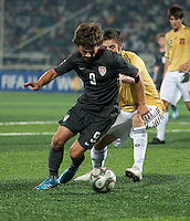 Jack McInerney controls the ball. Spain defeated the U.S. Under-17 Men National Team  2-1 at Sani Abacha Stadium in Kano, Nigeria on October 26, 2009.