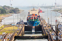 Panama Canal, Panama.  Container Ship Wehr Hong Kong Approaching First Lock on Caribbean Side.