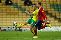 6th April 2021; Carrow Road, Norwich, Norfolk, England, English Football League Championship Football, Norwich versus Huddersfield Town; Teemu Pukki of Norwich City has a shot on goal late in the game