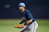 Wilmington Blue Rocks first baseman Drew Mendoza (26) on defense against the Hudson Valley Renegades at Dutchess Stadium on July 27, 2021 in Wappingers Falls, New York. (Brian Westerholt/Four Seam Images)