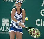 Belinda Bencic (SUI) loses to Danka Kovinic (MNE) 4-6, 6-3, 6-2 at the Family Circle Cup in Charleston, South Carolina on April 8, 2015.