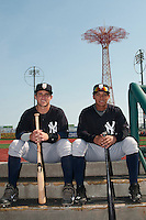 Staten Island Yankees catcher Luis Torrens (57) and infielder Thairo Estrada (13) during game against the Brooklyn Cyclones at MCU Park on June 29, 2014 in Brooklyn, NY.  Staten Island defeated Brooklyn 5-4.  (Tomasso DeRosa/Four Seam Images)