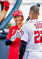 22 February 2019: Washington Nationals infielder Trea Turner awaits his turn in the batting cage during a Spring Training workout at the Ballpark of the Palm Beaches in West Palm Beach, Florida. Mandatory Credit: Ed Wolfstein Photo *** RAW (NEF) Image File Available ***