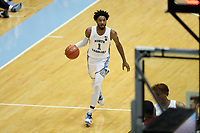 CHAPEL HILL, NC - FEBRUARY 1: Leaky Black #1 of the University of North Carolina brings the ball up the court during a game between Boston College and North Carolina at Dean E. Smith Center on February 1, 2020 in Chapel Hill, North Carolina.