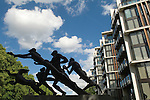 """One Hyde Park, Knightsbridge London.  Sculpture by Sir Jacob Epstein, know as the Edinburgh Gate sculpture, called  """"The Rush of Green"""" or the """"Bowater House Group."""""""