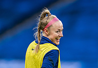SOLNA, SWEDEN - APRIL 10: Becky Sauerbrunn #4 of the USWNT warms up before a game between Sweden and USWNT at Friends Arena on April 10, 2021 in Solna, Sweden.