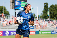 CARY, NC - SEPTEMBER 12: Lynn Williams #9 of the NC Courage prepares to take a throw-in during a game between Portland Thorns FC and North Carolina Courage at Sahlen's Stadium at WakeMed Soccer Park on September 12, 2021 in Cary, North Carolina.