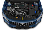 Car Stock 2021 Mercedes Benz GLB AMG-35 5 Door SUV Engine  high angle detail view