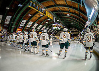 10 February 2017: Members of the University of Vermont Catamounts line up for pre-game introductions prior to a game against the University of New Hampshire Wildcats at Gutterson Fieldhouse in Burlington, Vermont. The Catamounts fell to the Wildcats 4-2 in the first game of their 2-game Hockey East Series. Mandatory Credit: Ed Wolfstein Photo *** RAW (NEF) Image File Available ***