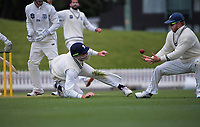 Martin Guptill and Glenn Phillips (right) try to catch Peter Younghusband behind during day three of the Plunket Shield match between the Wellington Firebirds and Auckland Aces at the Basin Reserve in Wellington, New Zealand on Monday, 16 November 2020. Photo: Dave Lintott / lintottphoto.co.nz
