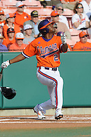 Clemson Tigers right fielder Chris Epps hits a homerun in his first at bat of the 2011 season against the Eastern Michigan Eagles at Doug Kingsmore Stadium, Clemson, SC. Photo By Tony Farlow/Four Seam Images.