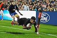 17th July 2021; Hamilton, New Zealand;  Sevu Reece dives over the try line and scores his try. All Blacks versus Fiji, Steinlager Series, international rugby union test match. FMG Stadium Waikato, Hamilton, New Zealand.